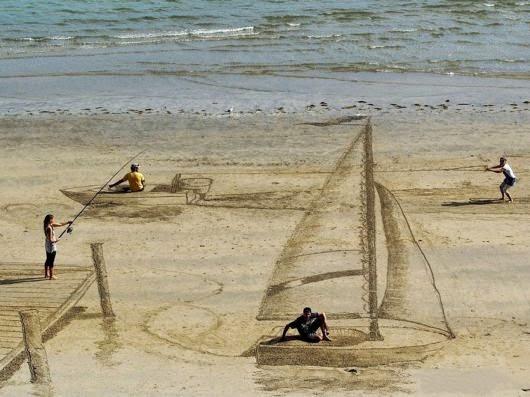 Hasil Seni 3D Yang Menggunakan Pasir