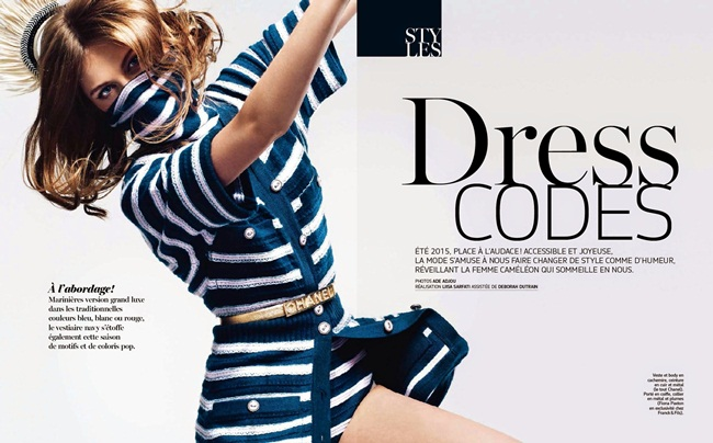 Chanel 2015 SS Cashmere Bodysuit in Marine Stripes Editorials