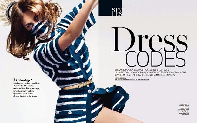 Chanel 2015 SS Cashmere Bodysuit in Marine Stripes Editorials