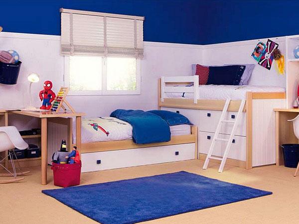 Desain Keren Kamar Tidur Anak Dengan Warna Putih, Biru dan Coklat