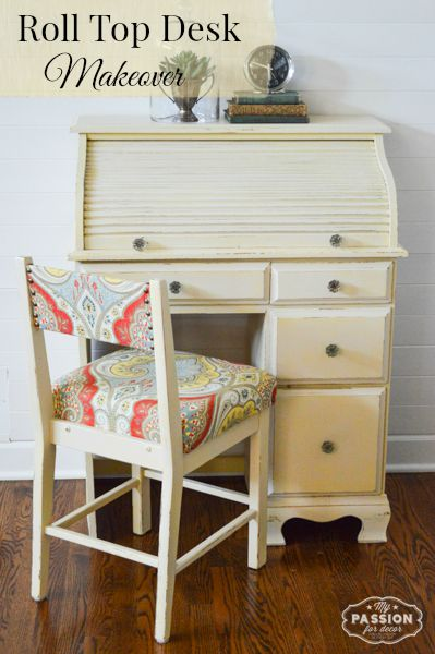 Attractive Cream Roll Top Desk Makeover Great Pictures