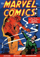 Marvel Comics #1, the original Human Torch melts his way through a wall to confront a man who is firing a gun at him