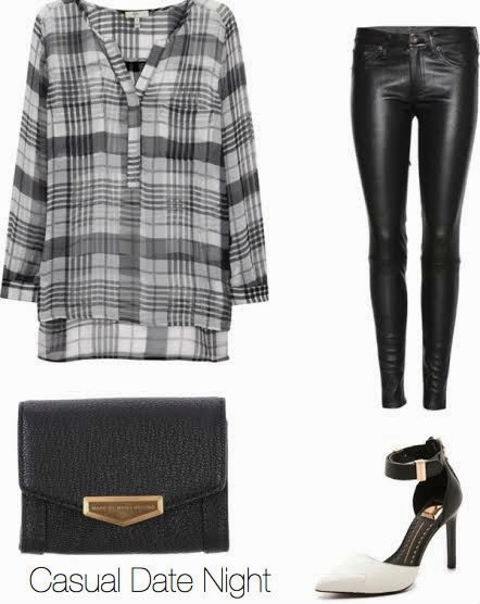 joie plaid, leather jeans