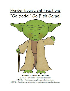 FREE Go Yoda! Harder Equivalent Fractions Go Fish Card Game!