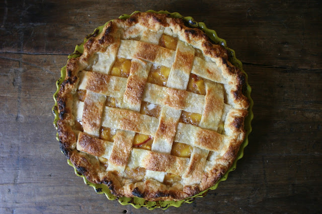 Peach Pie with a Sweet Basil Glaze, Lattice Top