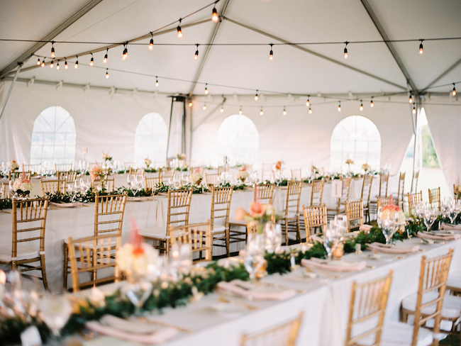 Wedding Tent Edison Bulbs Seated Dinner Table Runner Gold Chiavari Chairs