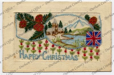 Embroidered postcard showing a snowy scene with pine cones and flowers (D/DLI 7/913/419)