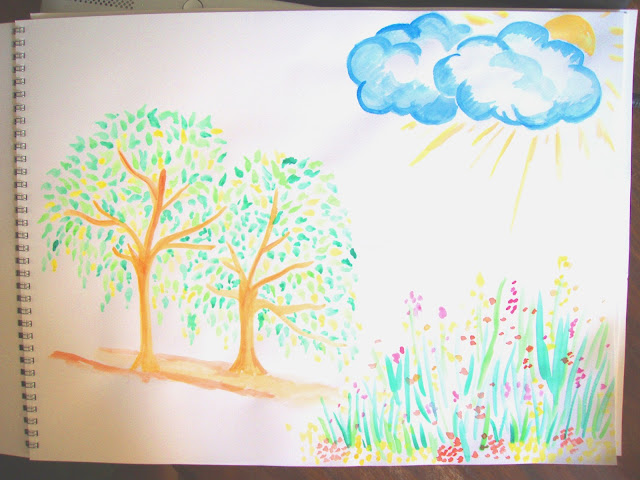 watercolour painting trees and flowers