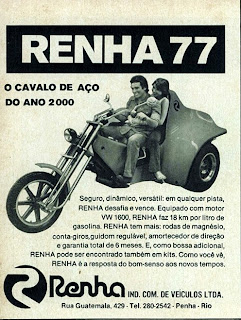 propaganda Renha 77 - Cavalo de Aço - 1977; byke; brazilians car in the 70s; reclame de carros anos 70. brazilian advertising cars in the 70. os anos 70. história da década de 70; Brazil in the 70s; propaganda carros anos 70; Oswaldo Hernandez;