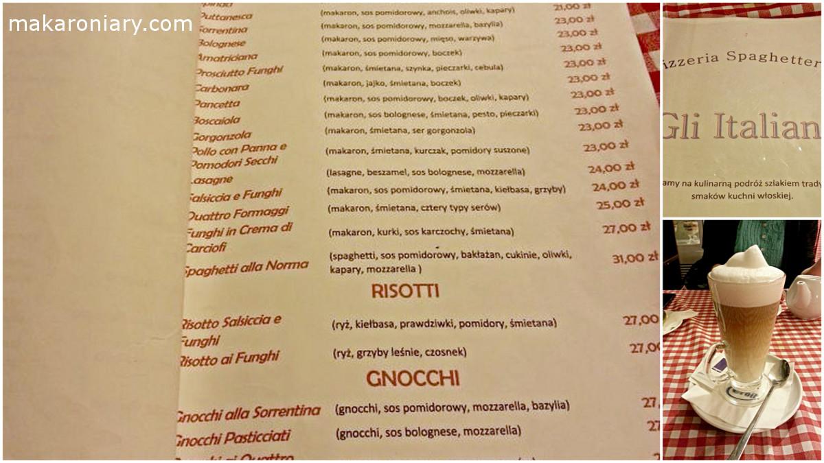 gli italiani menu