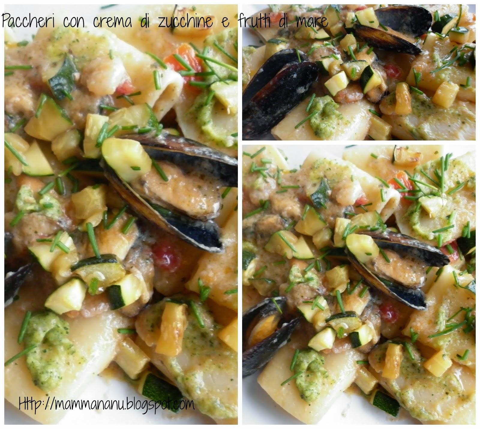paccheri con crema di zucchine e frutti mare