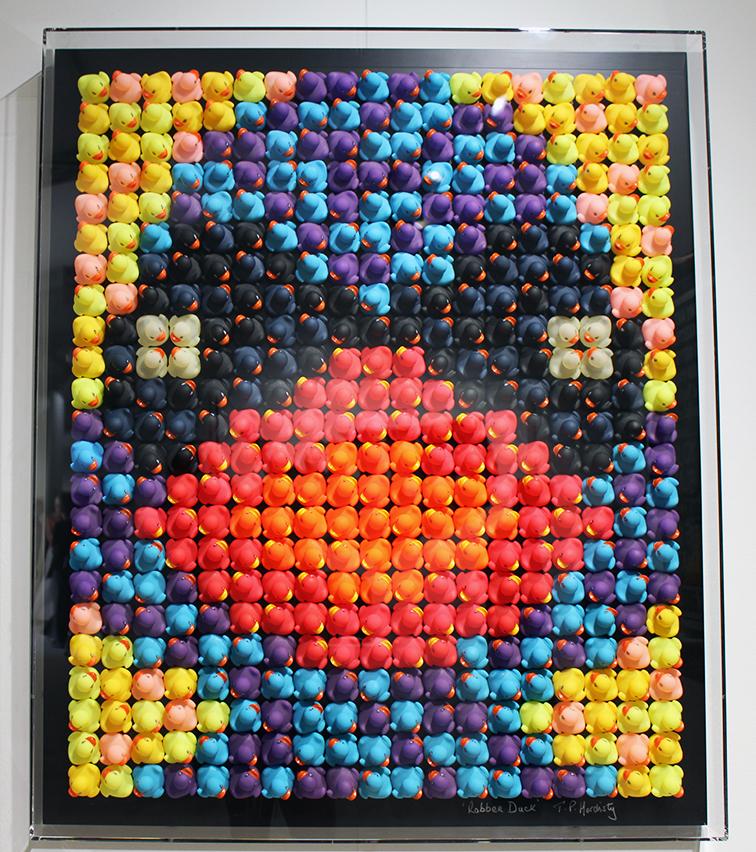 Rubber ducks inside plexiglass titled Robber Duck by TP Hardisty, Scope Gallery, MBAB 2014, Miami Beach Art Basel