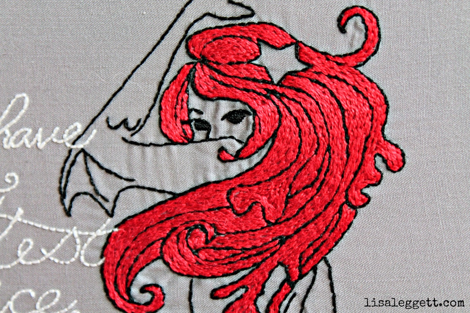 Hair Detail of Dark Fairytales Mermaid stitched by Lisa Leggett