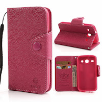 Leather Case Wallet With Stand and Card Slot Samsung Galaxy Core I8260 I8262 - Magenta