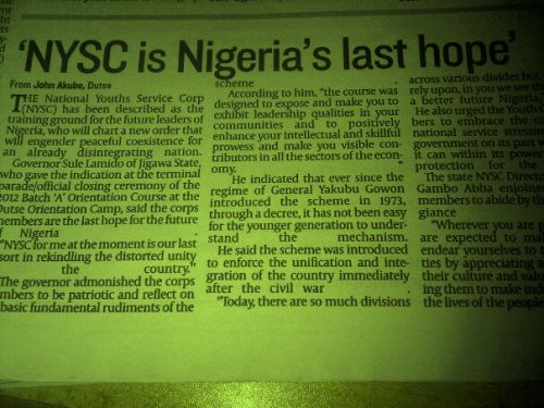 The Importance of NYSC