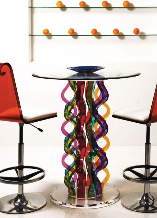 Furniture Colorful Glass Bar Table Vertical Home Garden