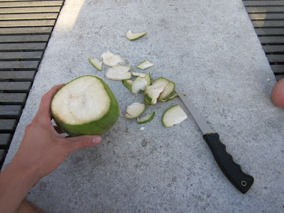 cutting off excess coconut shell with a fillet knife