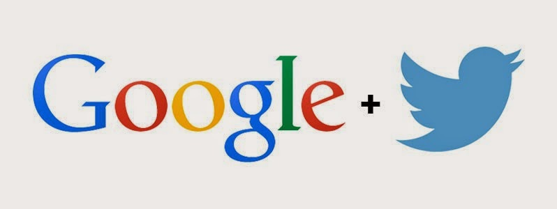 The Google+ logo next to the Twitter logo on a grey background.