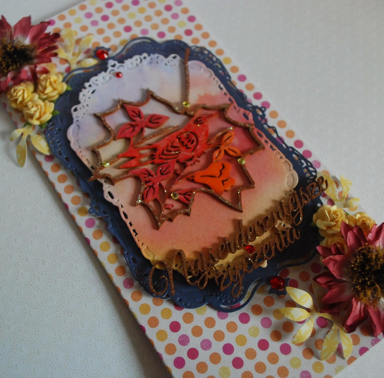 kartka urodzinowa, jesienne kolory