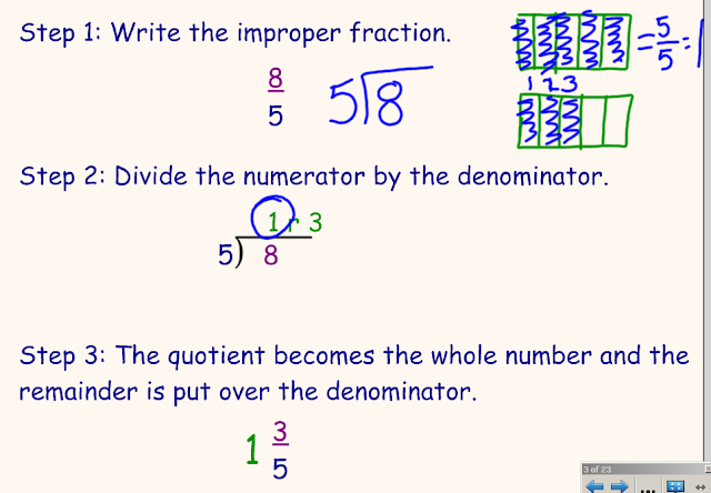 write each improper fraction as a mixed number