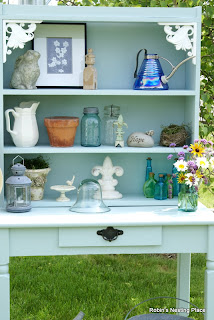 Blue DIY Potting Bench with Rummage Sale Junk