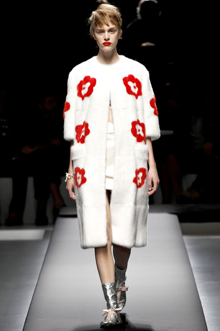 prada spring 2013 collection white mink floral coat