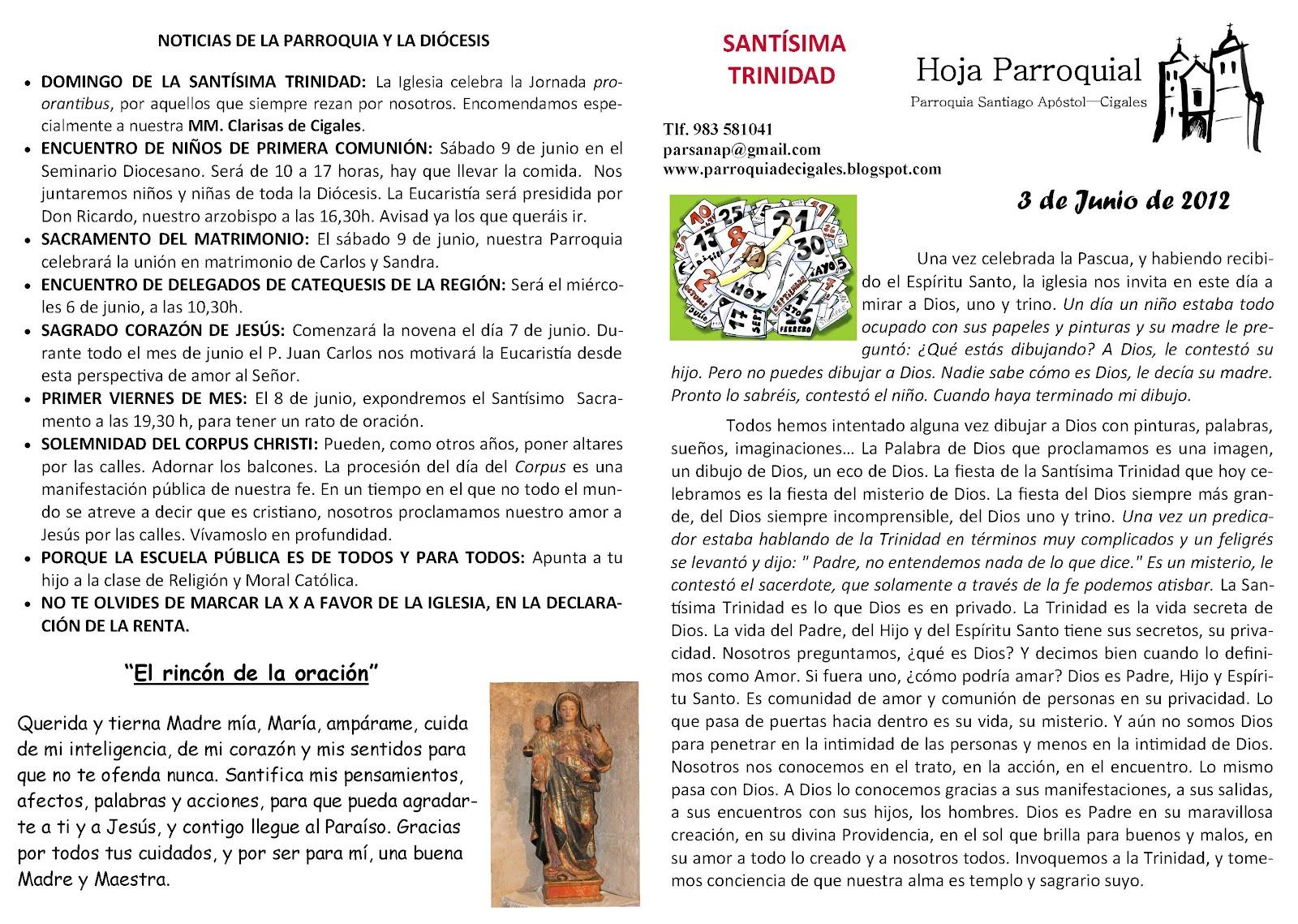 Parroquia santiago ap stol de cigales hoja parroquial for Oficina 0049 banco santander