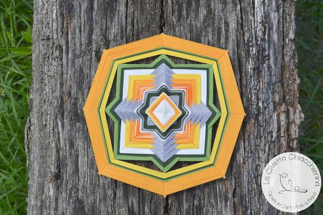 ojos de dios, mandala yarn realizzato dalla Civetta Chiacchierina, god's eye