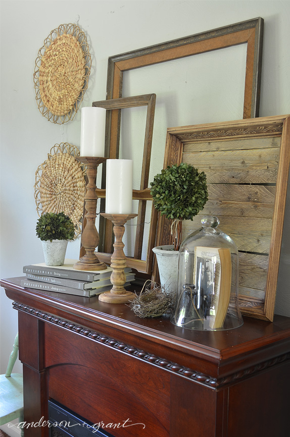 How to decorate your farmhouse style mantel for summer for Mantel display ideas