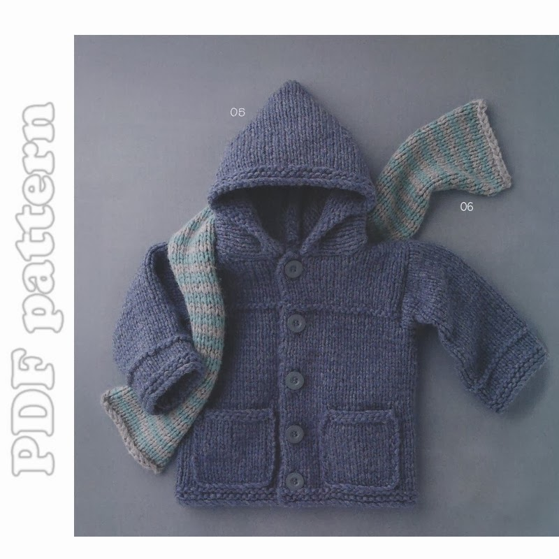 Knitting Pattern Hooded Coat : EASY Baby and Child Hooded Coat with Pockets and Scarf ...