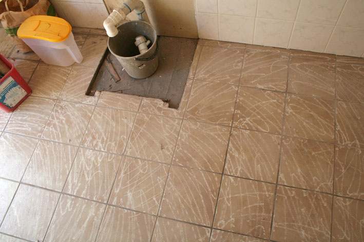 Tiling over old floor tiles that handymandan for How to tile over existing floor tiles