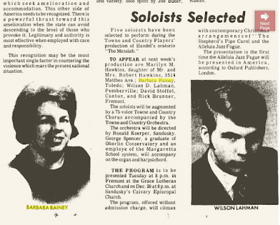 Climbing My Family Tree: Barbara performed as a soloist in 'The Messiah' in 1970 (her picture is on the left)