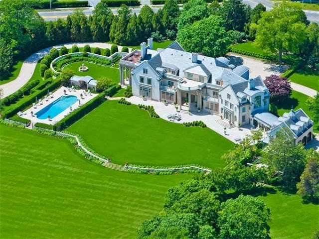 Villa Maria Water Mill New York mansion estate aerial lawn large home