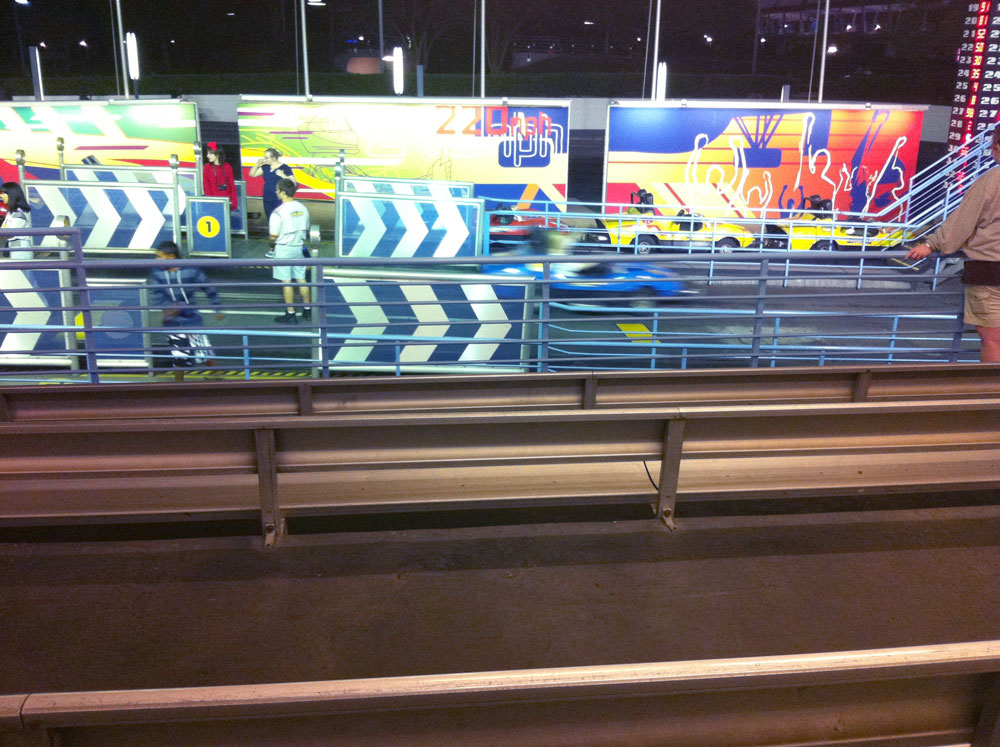 A view of the loading area from the Tomorrowland Speedway Grandstand.