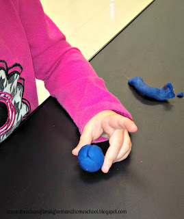 Teaching the color blue with play dough