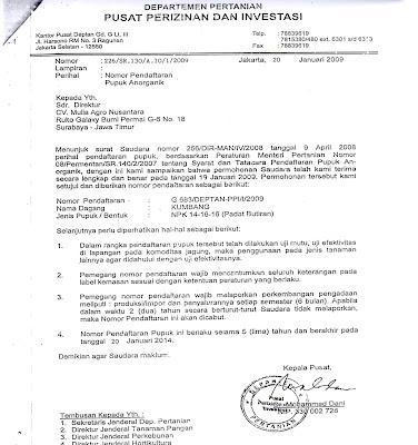 ijin investasi damai agro mandiri pupuk npk