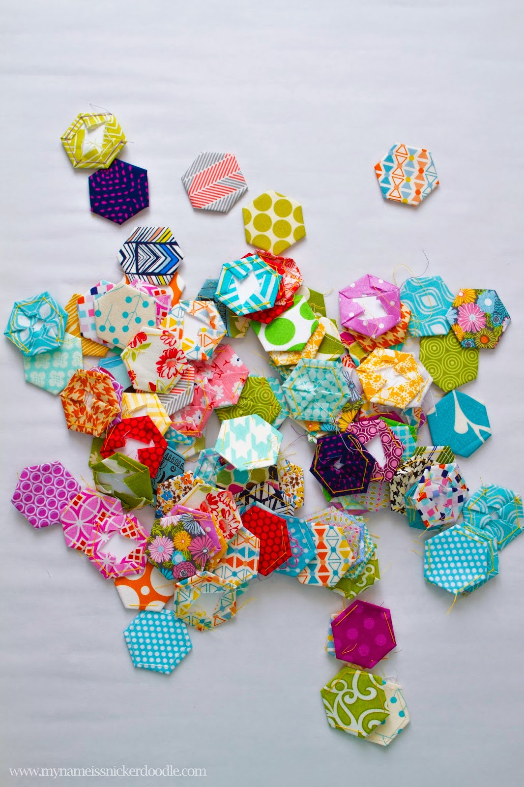 Lovely hexagons for a hand stitched quilt | My name Is Snickerdoodle