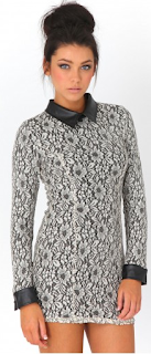 Lavonne Floral Lace Dress Black  Leather Collar