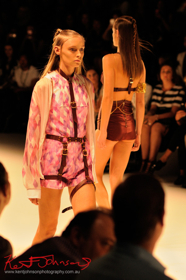 Bondage harness over pink play-suit, ANY STEP by Amy Le and Stephanie McGuigan - MBFWA - Photographed by Kent Johnson.