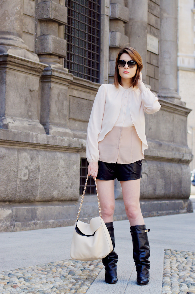 chic outfit with tall back boots and leather shorts