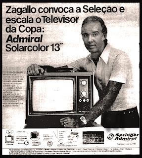 propaganda televisor Springer Admiral com Zagallo - 1974. . os anos 70; propaganda na década de 70; Brazil in the 70s, história anos 70; Oswaldo Hernandez;