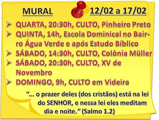 MURAL DA SEMANA - 12/02/2019