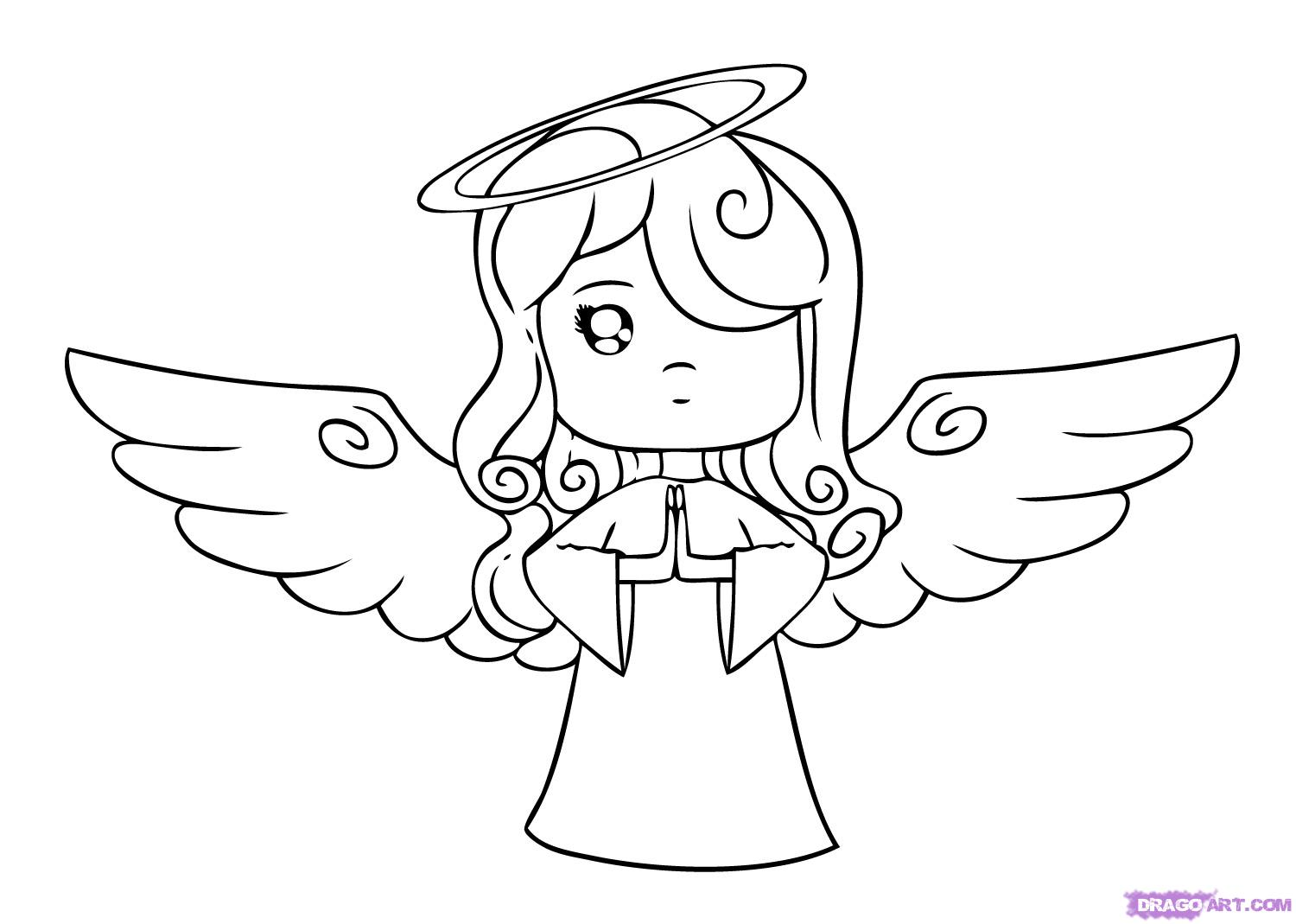 How to draw a cartoon angel step 6