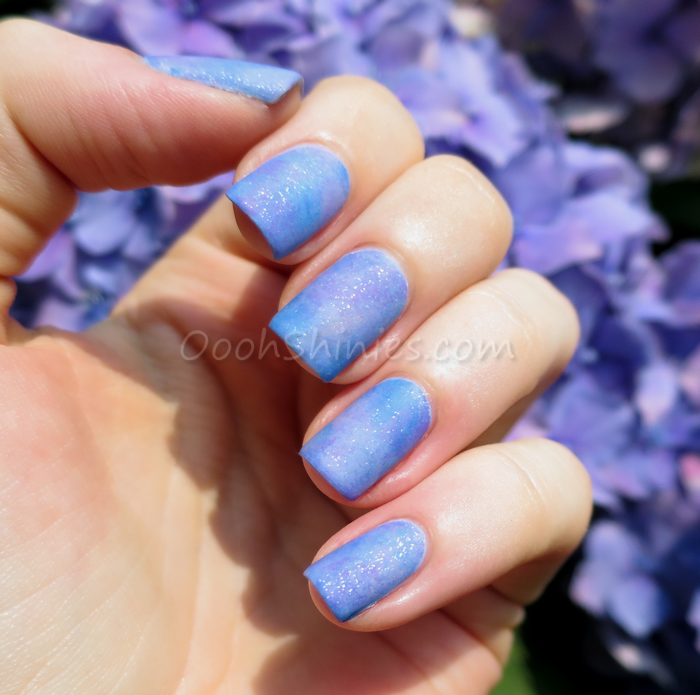 China Glaze Secret Peri-Wink-Le & Electric Beat, Essence Absolutely Blue & No More Drama, Catrice Lucky In Lilac, P2 Poetic, W.I.C. By Herôme Aarhus, Trind Purple Sunset, Essence Glitter Top Coat and BornPrettyStore Super Matte