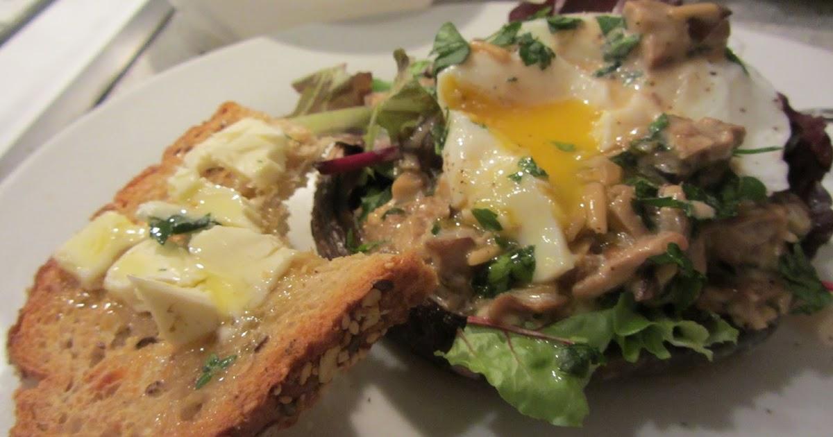 ... Roasted Portobello Mushrooms with Mushroom Cream Sauce and Poached Egg