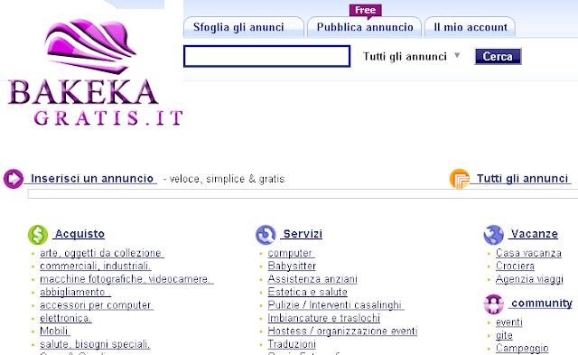 Pubblica annunci gratis su Bakeka-gratis.it
