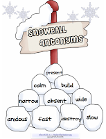 photo of Snowball Antonyms, FREE pdf, antonyms, vocabulary, Ruth S. Teacherspayteachers.com