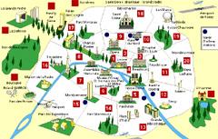 Plano de París, mapa de ciudad francesa