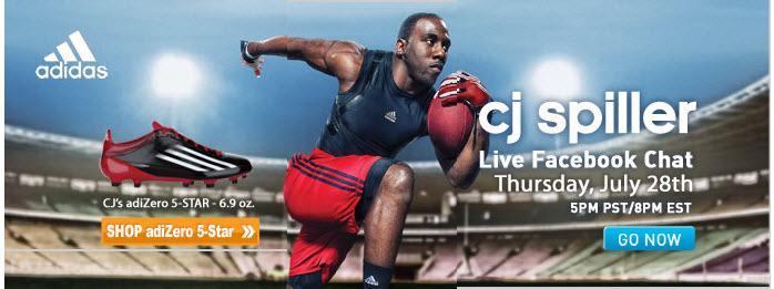 Banner promoting a Facebook chat with CJ Spiller from a July 26 email