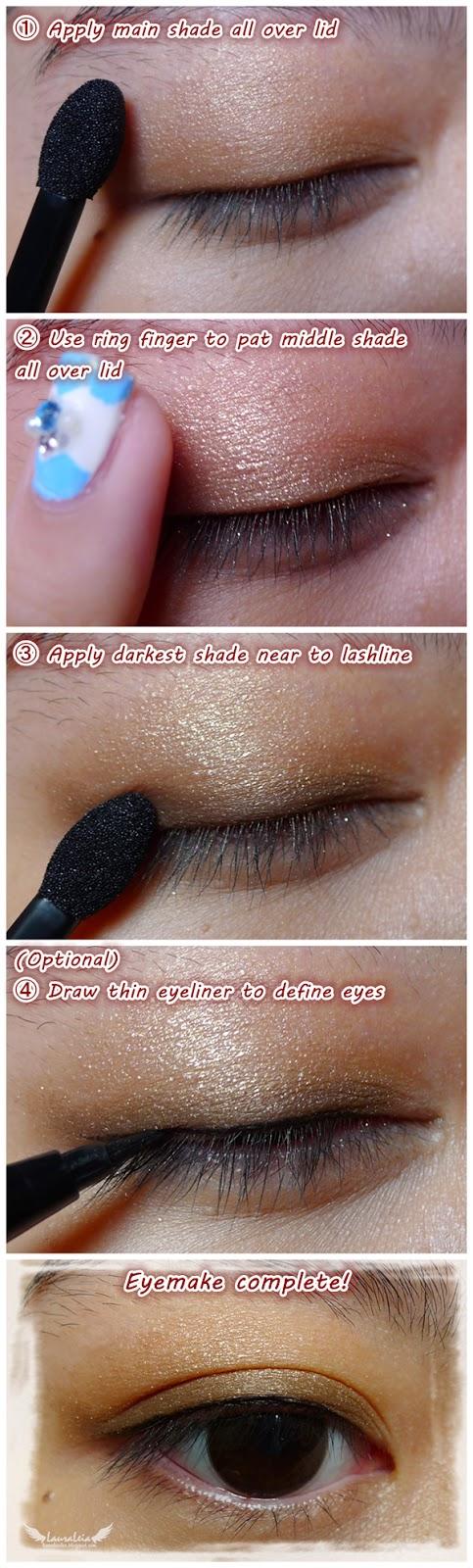 CANMAKE Juicy Pure Eyes Eyeshadow pictorial step-by-step